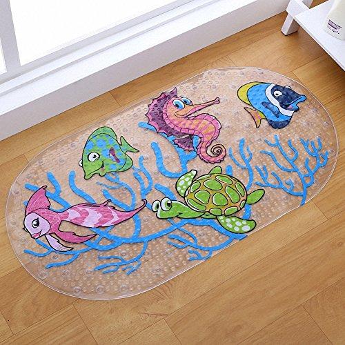 Rutschfeste Baby-Badematte mit Saugnäpfen für Wanne, Dusche, Mehltau beständig, natürliches PVC, 36*69cm Netter Muster-Entwurf, Badewannen-Matte für Kinder -