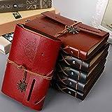 JISHIBEN Ceintures en Cuir imprimé créatif Retro Leather Pants Large Notebook 17 * 10.5cm 80 Feuilles, Red