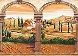 VLIES Fototapete (298V) TOSKANA Größe 350 x 260 cm in 7 BAHNEN 50 cm Breite x 260 cm Höhe - hoch qualitativer fotorealistischer Digitaldruck ! SPEZIALKLEBER für Vliestapete inklusive!- Non Woven Wall Mural - XXL Italien Landschaft Natur Wohnzimmer Kinderzimmer Küche- Motivtapete Postertapete Bildtapete