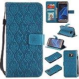 Guran Funda de Cuero Para Samsung Galaxy S7 Edge Smartphone Función de Soporte con Ranura para Tarjetas Flip Case Patrón de ratán vintage Cáscara - azul