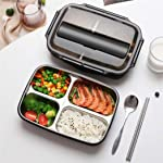 ORPIO Leakproof 4 Compartment Stainless Steel Kids Childrens Lunch Box with Removable Divided Container for Girls, Boys...