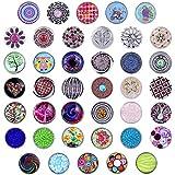 Morella 40 Click-Button Set Druckknöpfe für Halsketten Armband und Ring Glitzer Steine und Blumen Muster