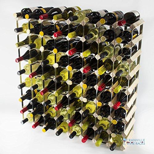 Classique en bois de pin 72 de la bouteille et galvanisé l'auto-assemblage de support de vin en métal