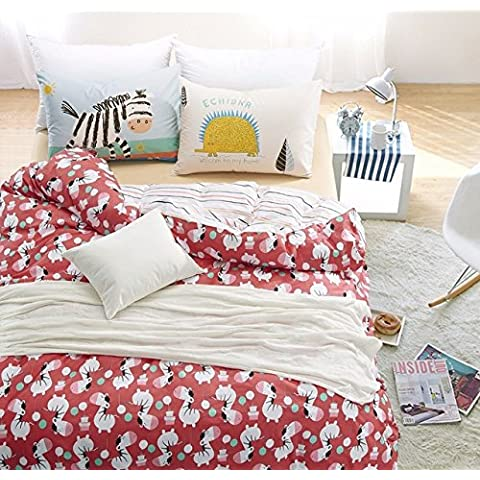 100% algodón 3pcs Kids Cartton cebra Edredón cubrir conjunto twin tamaño 4pc full size camas almohadón hedgehog