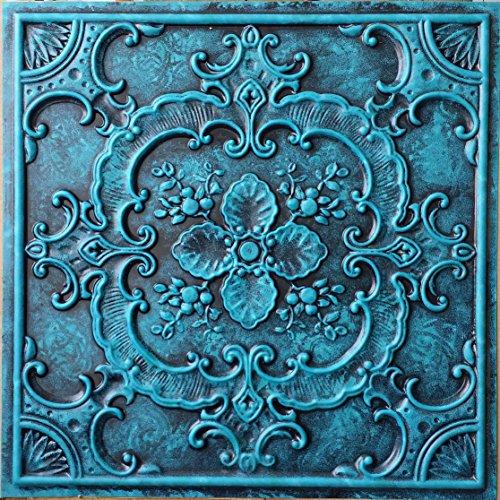 dalles-de-plafond-en-simili-tin-painted-archaique-bleu-en-relief-coffered-art-decoration-murale-pann