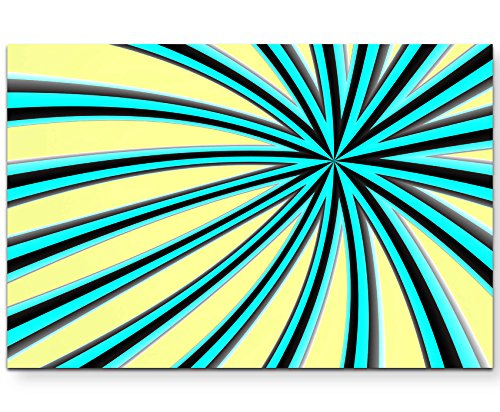 Abstraktes Bild – blau-schwarze Streifen + hellgelber Hintergrund