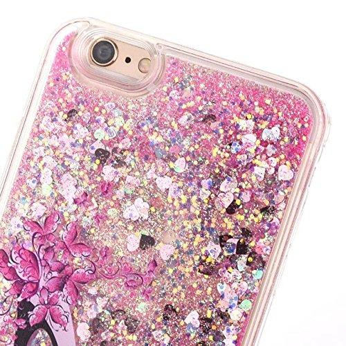 iphone 6 plus hülle flüssig, iphone 6s plus hülle glitzer, LuckyW PC Hardcase High Heel Muster Handyhülle für Apple iPhone 6 Plus/6S Plus (5.5 zoll) 3D Bling Glitter Glitzer Flowing Fließend Liquid Fl Rosa Herz1
