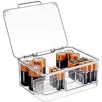 mDesign boite à piles pour différentes tailles de piles – rangement piles empilable avec couvercle en plastique – boite…