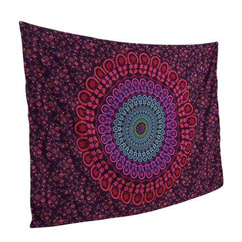 Smile YKK Mandala Wandteppich Hippie Turquoise Wandbehang Wandtuch Tapestry Zimmer Dekoration Rot (Wandteppiche Wandteppiche Rot)