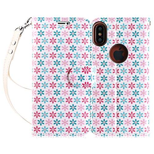 Cover iPhone X, Custodia iPhone X, Fyy® [RFID Blocco Portafoglio] 100% Custodia Manofatto Portafoglio [Sosotenitore Supportore] Con Slot da Proteggere le Carte Bancarie Identita per iPhone X Edition N Pattern 65