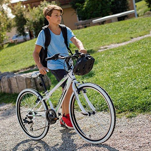Bergsteiger Kansas 24 Zoll Kinderfahrrad, geeignet für 8, 9, 10, 11 Jahre, Shimano 6 Gang-Schaltung, Mountainbike mit Weißwandbereifung, Jungen-Fahrrad, Mädchen-Fahrrad