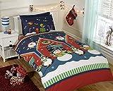 Father Christmas Set di Biancheria da Letto, Trapunta Copripiumino e Federa, Disegno: Babbo Natale, Pupazzi di Neve e Pinguini, Colore: Multicolore, Multi-Colour, Singolo
