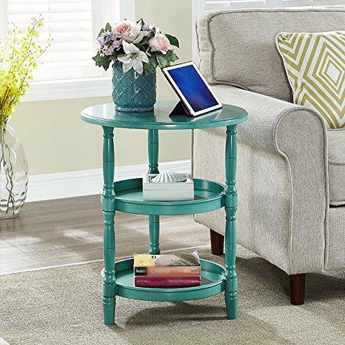 TANG CHAO Kleines Lagerregal Gestell Massivholz Einfaches Abnehmbares Sofa Kleiner Runder Tisch Dreistöckiger Speicher Runder Tisch Kleiner Mini-Couchtisch Regal (Farbe : B) -