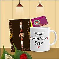 Tonkwalas Rakhi for Brother with Gift - Designer Rakhi with Rakshabandhan Special Coffee Mug, Wishes Card and Roli…