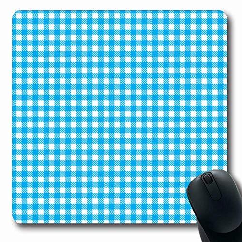 Luancrop Mousepad Oblong Pattern Light Blue Picknick Gingham Clip Servietten Abstract Bistro Cafe Checkerboard Checks Design Büro Computer Laptop Notebook Mauspad, rutschfestes Gummi Gingham Checks, Serviette