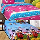 Sky Tex Super Saver Combo Of 2 Cartoon Printed Cotton Double Bed Sheets With 4 Pillow Covers