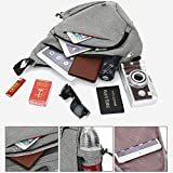 Sling Bag Chest Shoulder Backpack SINOKAL Casual Crossbody Shoulder Triangle Packs Daypacks for Men Women Canvas Digital Camera Bags with Charging Port for Sport Outdoor Gym Travel Hiking