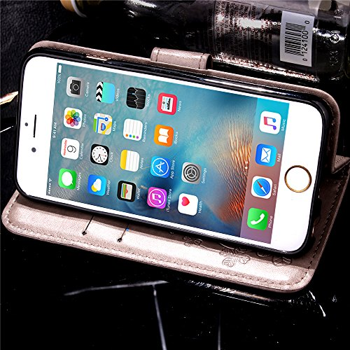 iPhone 6Plus/6S Plus 14cm Étui portefeuille en cuir PU couverture de livre, newstars léger Étui à rabat pour Téléphone portable Motif floral Mobile Protéger Peau Étui en cuir pour Apple iPhone 6Plu Clover Gray