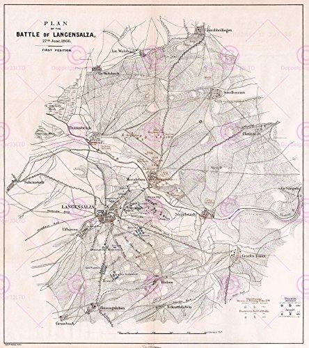 1866 Antique Print (Doppelganger33 LTD Map Repro Antique 1866 Battle Langensalza Prussia Canvas Art Print)