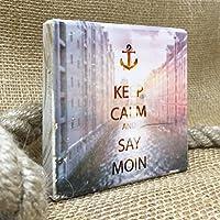 KEEP CALM and SAY MOIN *Speicherstadt* | 10x10 cm | Personalisiert | Holzbild Wandbild Landhausstil Shabby Chic Vintage Bilder Motive HAMBURG Geschenkidee Souvenir Deko
