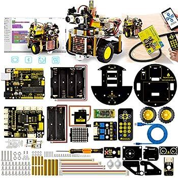 KEYESTUDIO Kit Voiture Robot Carte Arduino UNO R3 Projet Car avec CD Tutoriel - Ultrasonic Multifonction Voiture Jouet Educatif et Intelligent pour Adolescent et Adulte DIY