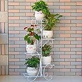 Blumenregal ZJM Eisen Multi-Layer-Blumenständer Indoor-Balkon-Regale Bodenstehende Wohnzimmer platzsparende Blumentopf Rack Gartenregal (Farbe : Weiß, Größe : 5 Tier)