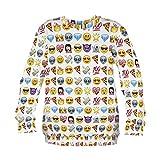 Emoji Sweater Emoticon Smileys Pullover Symbole Smartphone Fullprint All Over Sweatshirt Sweater Pattern Muster (Emoji)