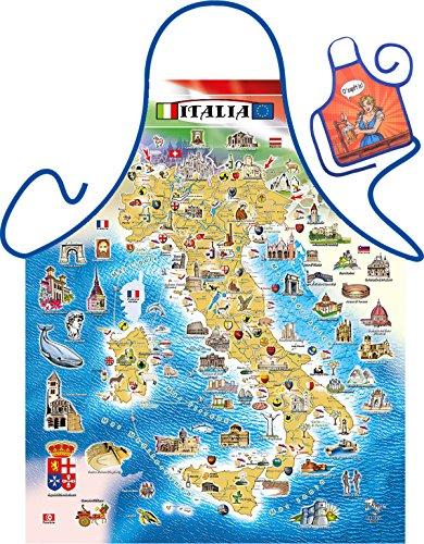 Italien Landkarte Motiv Kochschürze Sehenswürdigkeiten Italien Schürze : Italian Map — Themenschürze mit Minischürze für Flaschen