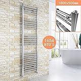 ELEGANT 1800 x 500mm Chrome Heated Towel Rail Designer Bathroom Radiator