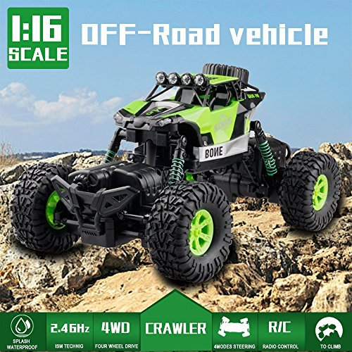 GizmoVine RC Coche Teledirigido RC Car 1/16 Off-road Rock Crawler 2.4GHZ 4WD Coche Escalada 4 Modo de Dirección Juguete Impermeable (Verde)