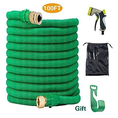 Tuyau de jardin 30 mètres, tuyau d'eau extensible expansible avec tuyau de pulvérisation à 8 fonctions - vertge plantes/pour animal domestique Showering- Vert
