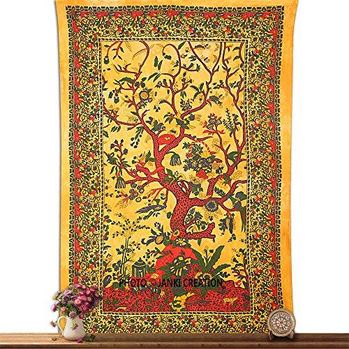 Tapisserie Gelb Baum des Lebens bedspreed indischen Mandala Wandbehang Tapisserie