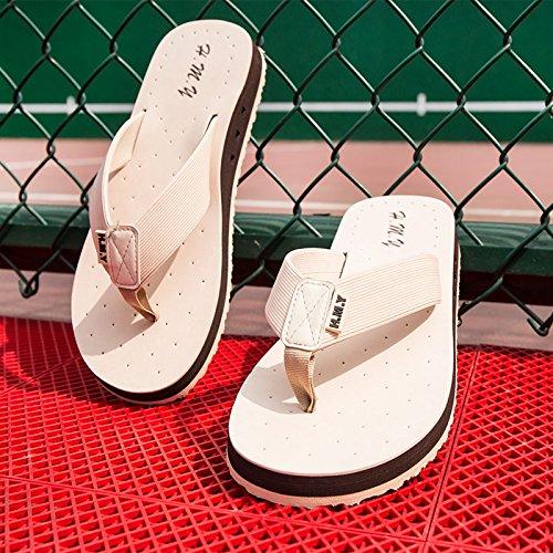 Chaussons, pieds antidérapants des hommes, des tongs, des semelles épaisses, perméables à lair cool pantoufles, orteils occasionnels, chaussures de plage Beige