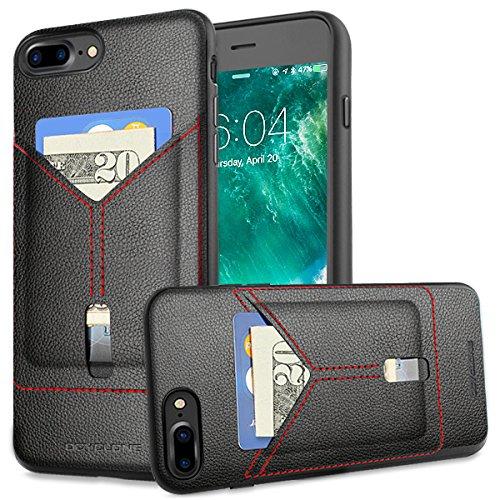 iPhone 7 Plus Handy Hülle mit Schlitz für Kreditkarten - Brieftasche Etui hält Karten, Professionelle und Vintage-Stil,wallet iPhone 7 Plus (5,5 Zoll- Blau)