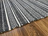 Second Nature Baumwolle Kilim Läufer Teppich in Anthrazit Grau & Weiß Geometric Stripe Hand bevorstand Indian 60cm x 240cm