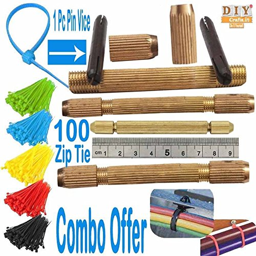 DIY Crafts Combo Offer Coloured Zip Tie Brass Hand Drill Pin Vice...