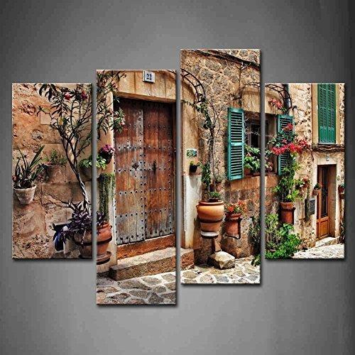 (LIS HOME 4 Panel Wall Art Straßen der Alten mediterranen Städte Blume Tür Fenster Malerei das Bild Druck auf Leinwand Architektur Bilder für Wohnkultur Dekoration Geschenk Stück)