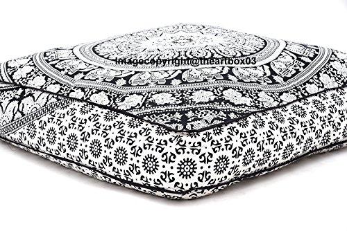 THE ART BOX Coussin de Sol carré en Coton avec Mandala Indien Noir et Blanc