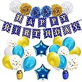 KUNGYO Decorazioni Compleanno per Feste - Buon Compleanno Articoli per Feste Blu Oro Striscione Happy Birthday Banner Palloncini di Lattice Coriandoli Nastri Fiori di Carta Pompon Palloncini Mylar