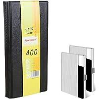 Lesai Organiseur de cartes de visite pour 400 cartes + 2 pièces Porte-cartes en métal