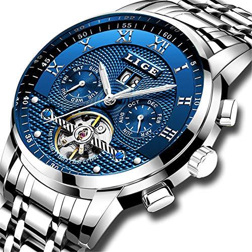 LIGE Herren Uhr Automatik Mechanische wasserdichte Armbanduhr Herren Edelstahl Datum Kalender Kleid Uhr Mode lässig Skelett Tourbillon Uhr