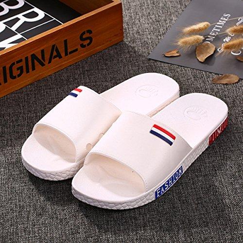 Nouveau Couple Salle De Bains D'été Mot Drag Faites Épais Fin Non-slip Respirant Intérieur Maison Pantoufles Hommes En Plastique Chaussures,Grey(40-41) White(44-45)