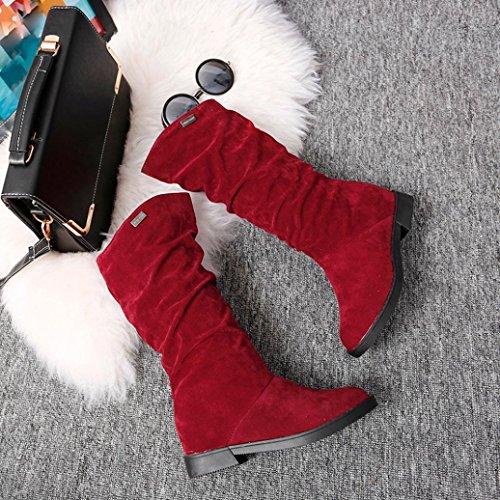 Somesun Femme Bottes Chaussures, Bottes D'automne Bottes De Femmes Bottes Stylish Élégant Plat Flock Patins Bottes De Neige Rouge