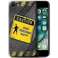 Custodia/Cover/Caso/Cassa Gel/TPU/Prottetiva STUFF4 stampata con il disegno Cartelli Stradali Divertenti per Apple iPhone 7 - Pesante Pedonale