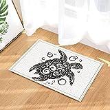 gohebe Creative Schildkröte Malerei in schwarz und weiß Bad Teppiche für Badezimmer Rutschfeste Boden Eingänge Outdoor Innen vorne Fußmatte Kinder Badteppich 39,9x 59,9cm