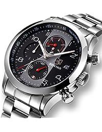 Reloj cronógrafo de acero inoxidable para hombres Reloj deportivo de cuarzo  analógico resistente al agua con 7e2bcc96d258