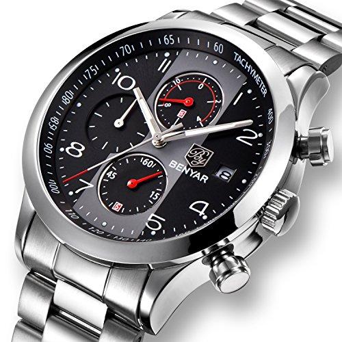 Montre de Sport pour Homme chronographe Quartz analogique étanche à l'eau en Cuir Noir Montres avec Calendrier 12/24 Heures