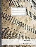 """NOTENHEFT DIN A4 • 48 Seiten, 24 Blatt, 12 Systeme, """"Vintage"""" • Original #GoodMemos Schulheft • Mit Register und Seitenzahlen, Notenlineatur 14"""