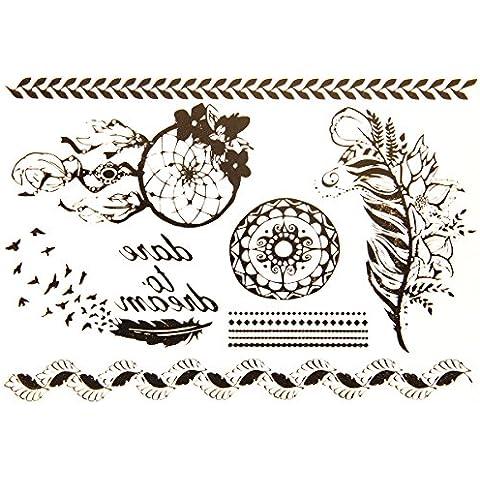 Jewelrywe Oro e Argento Foil Gioielli Tatuaggio Temporaneo Tattoo Lucky Auspicious Patterns