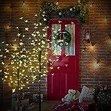 CCLIFE Albero Luminoso Decorativo di Natale con Fiori, 8 Effetti di Luce,forma regolabile, Colore:Bianco Caldo, Dimensione:180cm
